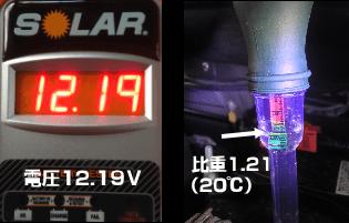 バッテリー電圧と比重測定